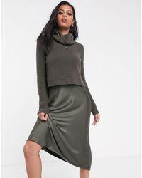 AllSaints Tierny Midi Slip Dress With Detachable Roll Neck Jumper - Green
