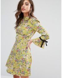 Miss Selfridge High Neck Tie Sleeve Floral Tea Dress - Green