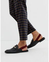ASOS Backless Mule Loafer In Black Leather With Elastic Detail