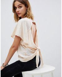 NYTT Giselle Flutter Sleeve Open Tie Back T-shirt - White