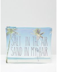 South Beach Outh Beach Palm Tree Printed Pouch - Blue