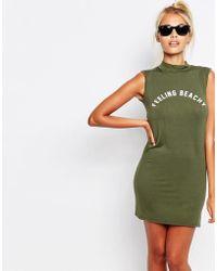 Adolescent Clothing Bodycon Sleeveless Tank Dress With Feeling Beachy Print - Green