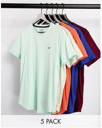 Hollister Confezione risparmio da 5 T-shirt blu/menta/rosa/bordeaux/grigia con fondo arrotondato e logo - Multicolore