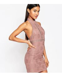 Naanaa - Lace Pencil Dress With High Neck - Lyst