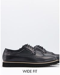 Truffle Collection Wide Fit Casual Lace Up Brogues - Black
