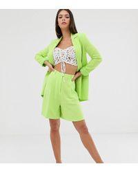 ASOS Asos Design Tall Linen Suit Mom Shorts In Lime Pop - Green