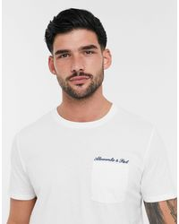Abercrombie & Fitch Embroidered Script Logo Washed Out T-shirt - White
