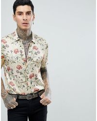 ASOS - Design Regular Fit Satin Viscose Shirt With Floral Design In Ecru - Lyst