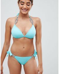Lipsy Tie Side Bikini Bottoms With Diamante Trim-green - Blue