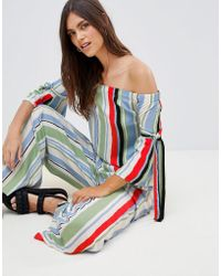 Vila - Stripe Off Shoulder Top With Fluted Sleeve - Lyst