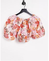 River Island - Floral Puff Sleeve Crop Top - Lyst
