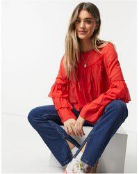 Glamorous Chemisier à manches avec volants superposés - Rouge