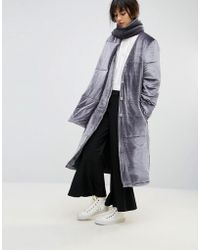 House Of Sunny - Padded Longline Coat In Velvet With Detachable Scarf - Lyst