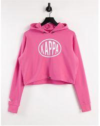 Kappa Pop Logo Crop Hoodie - Pink