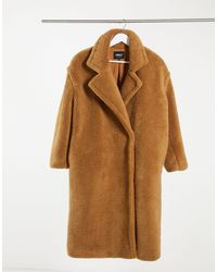 ONLY Cappotto teddy oversize color cuoio - Marrone