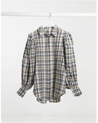 NA-KD Puff Sleeve Oversized Check Shirt - Brown