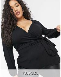 Simply Be Черная Блузка С Завязкой Сбоку -черный Цвет