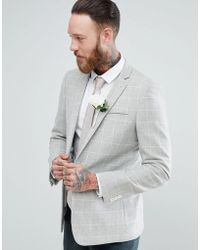 ASOS - Wedding Skinny Blazer In Putty Wool Mix Windowpane Check - Lyst