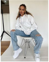 Skinnydip London X Jade Thirlwall Relaxed Hoodie With Trash Diamante Slogan Co-ord - White