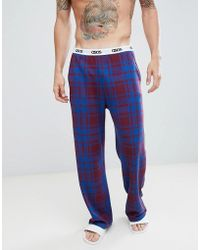 ASOS - Straight Pyjama Bottoms In Check With Branded Waistband - Lyst