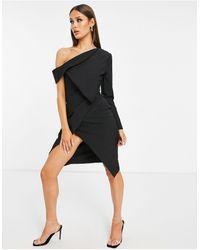 Lavish Alice Robe blazer mi-longue asymétrique à épaules dénudées et encolure Bardot - Noir