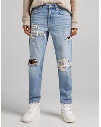 Bershka Bandana 90's Jeans With Rips - Blue
