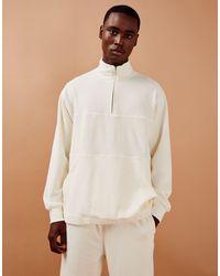 TOPMAN Corduroy Panel Half Zip Sweat - White