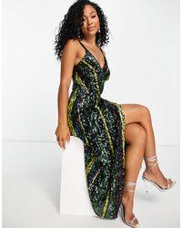 Little Mistress Sequin Stripe Midaxi Dress - Multicolour