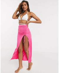 ASOS Jersey Slinky Ruched Side Maxi Sarong - Pink