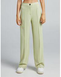 Bershka Wide Leg Dad Tailored Trouser Co-ord - Green
