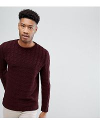 ASOS - Tall Cable Knit Yoke Jumper In Burgundy - Lyst