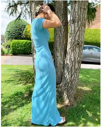 Another Reason Button-front Round-neck Maxi Dress - Blue