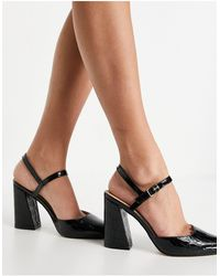 Office Hailing Block Heel Pointed Shoes - Black