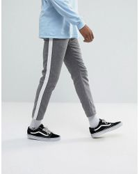 ASOS - Slim Cropped Pants In Gray Nepp With Side Stripe - Lyst