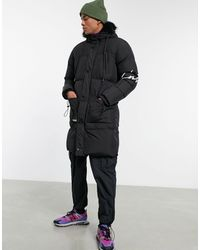 The Couture Club Longline Panelled Puffer Jacket - Black