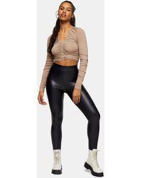 TOPSHOP Leather Look leggings - Black