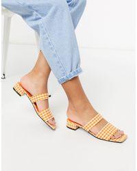 Monki Оранжевые Туфли На Низком Каблуке С Двумя Ремешками В Клетку -оранжевый