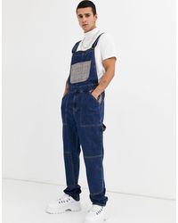 ASOS Salopette décontractée en jean avec poche à carreaux - foncé délavé - Bleu