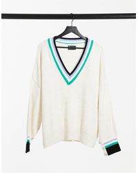 ASOS V-neck Jumper With Tipping Detail - Multicolour