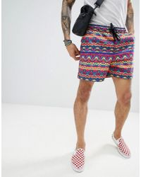 ASOS - Design Festival Slim Shorter Shorts With Elasticated Waistband In Bright Abstract Design - Lyst