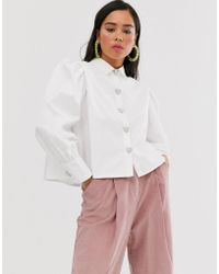 Sister Jane - Shirt With Volume Sleeves And Faux Pearl Heart Buttons - Lyst