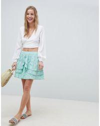ASOS DESIGN - Mini Skater Skirt In Heart Broderie With Frills - Lyst