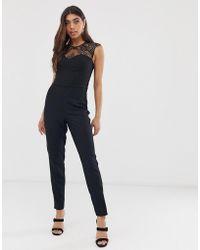 Lipsy Lace Jumpsuit - Black