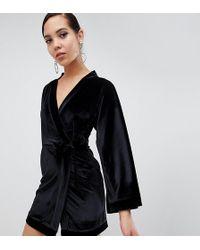 Missguided - Velvet Kimono Sleeve Belted Mini Dress In Black - Lyst