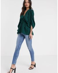 ASOS Kimono Sleeve Top With Channelling Detail - Green