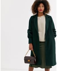 UNIQUE21 Gathered Cuffs Wool Coat-green
