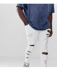 ASOS Spray-on Jeans Met Stevige Stretch En Grote Scheuren In Wit