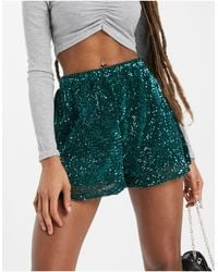 Club L London Sequin Short With Belt Detail - Green