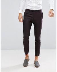 River Island - Skinny Wool Suit Pants In Dark Purple - Lyst