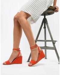 e00b2a7da944 Steve Madden  s Nylee Block Wedge Shoes in White - Lyst
